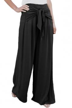 Elastic High Waisted Tie Front Wide Legs Plain Leisure Pants Black