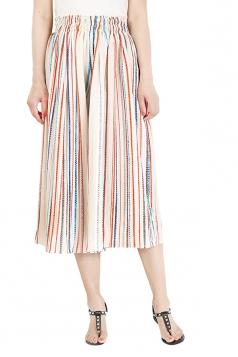 Elastic Waisted Wide Legs Chiffon Stripe Loose Leisure Capri Pants Orange