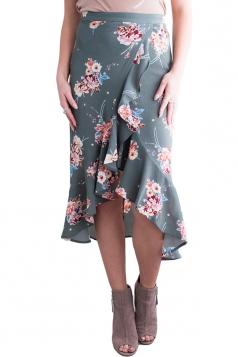 High Low Flower Print Ruffle Wrap Midi Skirt Gray