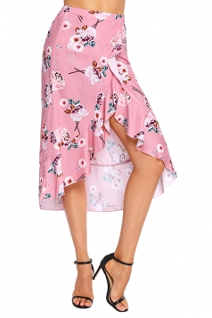 High Low Flower Print Ruffle Wrap Midi Skirt Pink