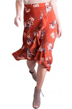 High Low Flower Print Ruffle Wrap Midi Skirt Red