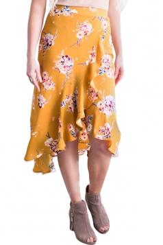 High Low Flower Print Ruffle Wrap Midi Skirt Yellow