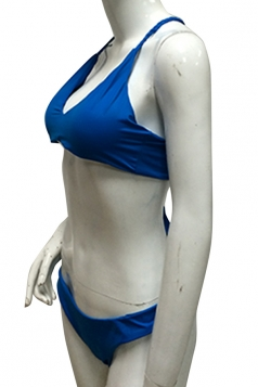 V Neck Halter Back Lace Up Top&High Cut Bottoms Plain Bikini Blue