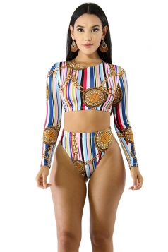 Long Sleeve Top&High Waisted Bottoms Large Chain Print Swimsuit