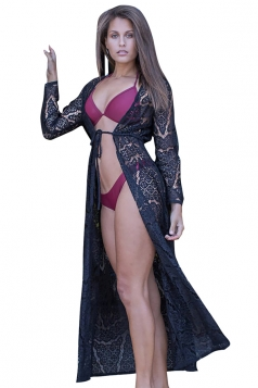 Sexy Long Sleeve Tie Front Cut Out Lace Beachwear Sarong Black