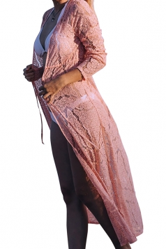 Sexy Long Sleeve Tie Front Cut Out Lace Beachwear Sarong Pink