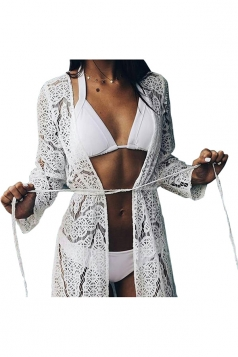 Sexy Long Sleeve Tie Front Cut Out Lace Beachwear Sarong White
