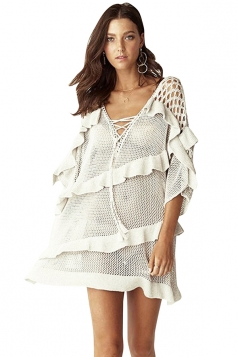Criss Cross V Neck 3/4 Length Sleeve Cut Out Ruffle Beach Dress White
