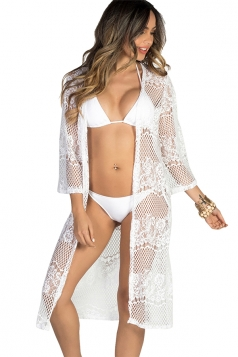 Sexy Long Sleeve Lace Sun Protection Cardigan Sarong White