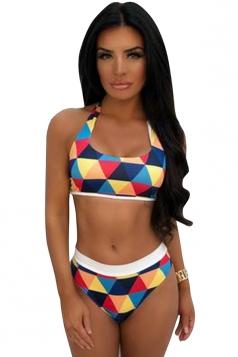 Geometric Print Color Block Halter Back Tie High Cut Bottoms Bikini Blue