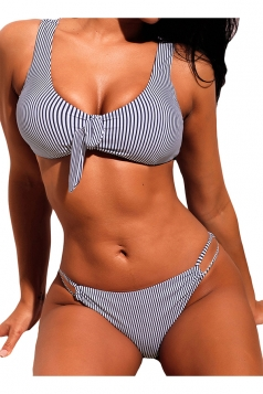 V Neck Tie Front Top&String Bottoms Striped Two Piece Bikini