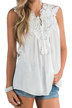 Lace V Neck Tie Front Sleeveless Chiffon Loose Plain Tank Top White