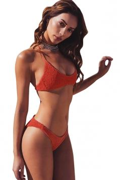 Sexy Halter Shirred Two-Piece Plain Bikini Set Light Orange