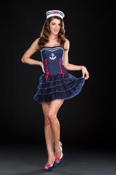 Dark Blue Pin Up sweetie sailor Girl Halloween Costume