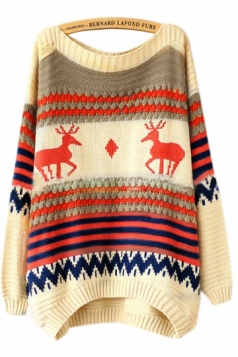 Beige Red Tacky Stripe Reindeer Christmas Jumper Sweater