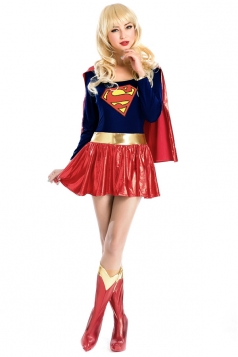 Red Cloak Golden Belt Superwomen Costume