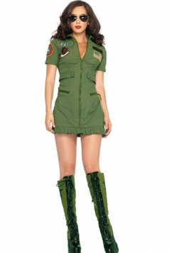 Green Womens Top Gun Flight Dress Stewardess Costume