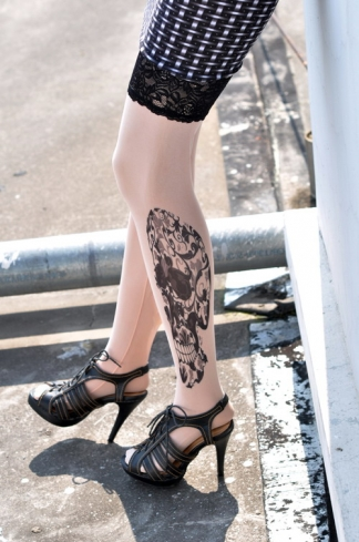 Floral Totem Skulls Tattoo Stockings