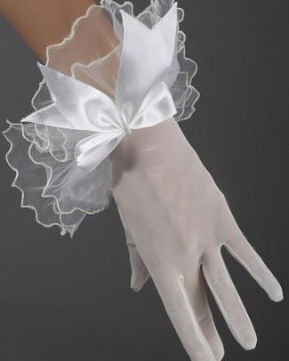 Short Transparent Lace Net Gloves