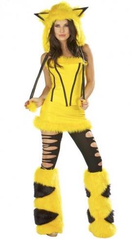 Hooded Pikachu Halloween Costume Yellow