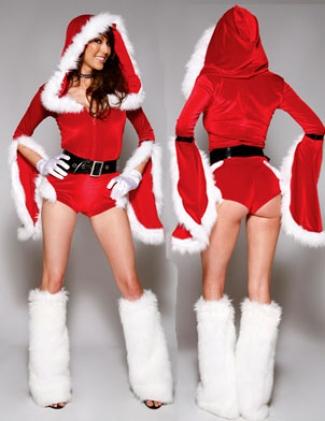 Red Batwing Hooded Christmas Costume Ladies Santa Costume