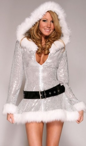 Silver Sequin Low Cut Womens Snowman Christmas Costume