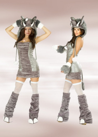 Silver Gray Womens Halloween Elephant Costume