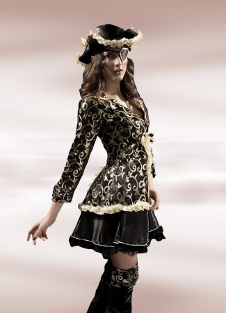 Black Lace Female Trim Flower Print Pirate Halloween Costume