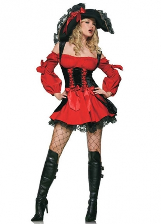 Red Off Shoulder Corset Womens Strap Pirate Halloween Costume