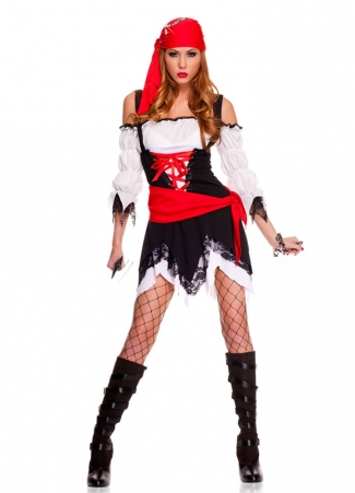White Off Shoulder Ruched Sleeves Halloween Pirate Costume