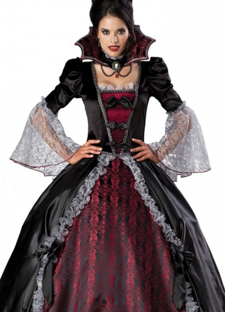 Deluxe Bubble Lace Sleeve Vampire Halloween Womens Costume