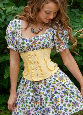 Yellow Princess Laced Over Bust Corset