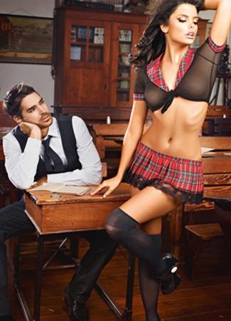 Womens Mesh Plaid Sexy School Girl Uniform Costume