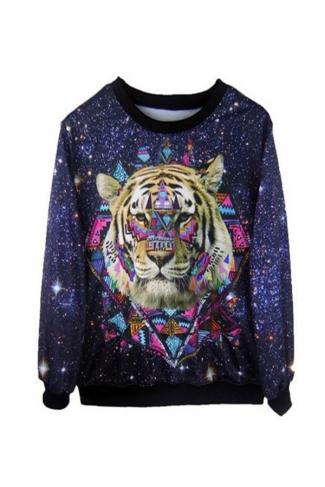 Tiger Head Galaxy Printed Pullover Sweatshirt