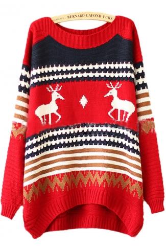 Red Tacky Reindeer Stripe Pattern Womens Christmas Xmas Sweater