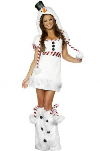 Sexy White Snowman Women Christmas Costume