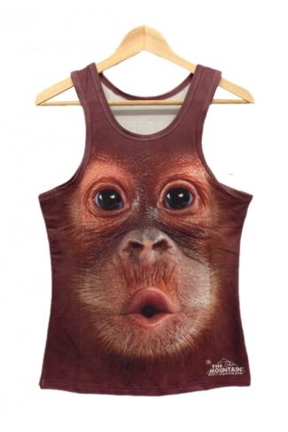 Brown Monkey Face Print Tank Top