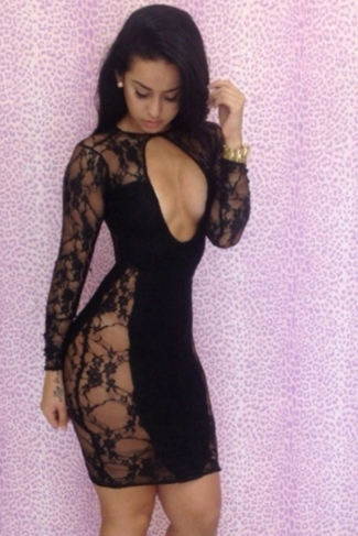 Womens Sexy Lace Patchwork Cut Out Clubwear Dress