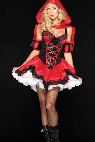 Red Sexy Womens Strap Lace Bow Floral Fairytale Costume