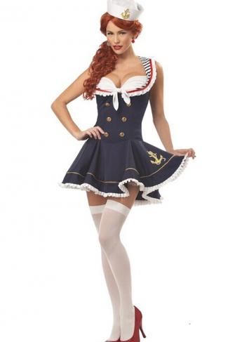 Blue Sexy Womens Nautical Doll Adult Sailor Halloween Costume