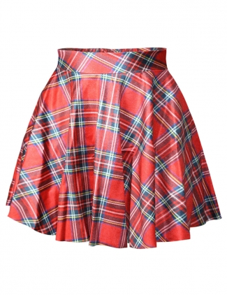 Red Ladies Sexy Grids Printed Retro Pleated Skirt
