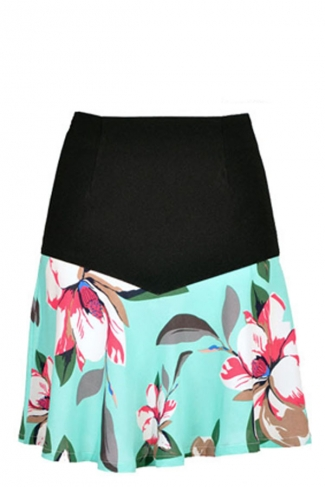 Multicolor Pretty Ladies Floral Patchwork Pleated Skirt