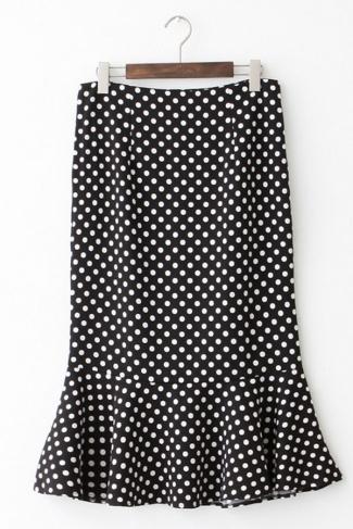 Black Pretty Womens Polka Dot High Waisted Pleated Skirt