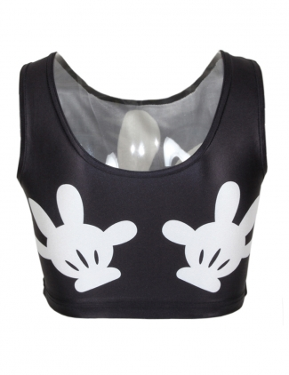 Black Mouse Cute Gloves Printed Womens Sexy Crop Top