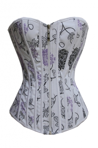 Trendy Ladies Zipper Floral Over Bust Corset