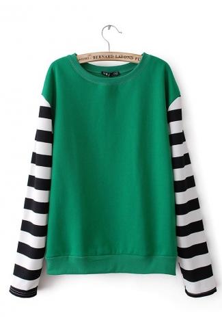Green Womens Color Block Stripes Sleeves Sweatshirt