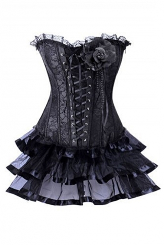 Black Cool Ladies Ruffle Lace Up Rose Lingerie Corset Dress
