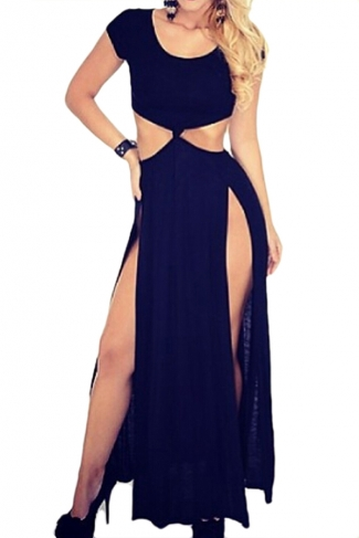 Black Unique Womens Sexy Cut Out Short Sleeves Maxi Dress
