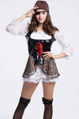 Black Fancy Womens Halloween Sheer Pirate Costume