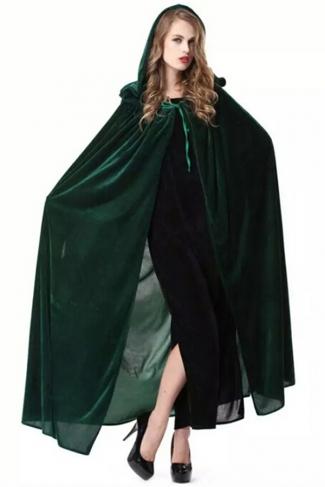 Green Halloween Vampire Cloak Cosplay Sexy Womens Witch Costume